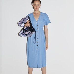 Zara button denim dress size S